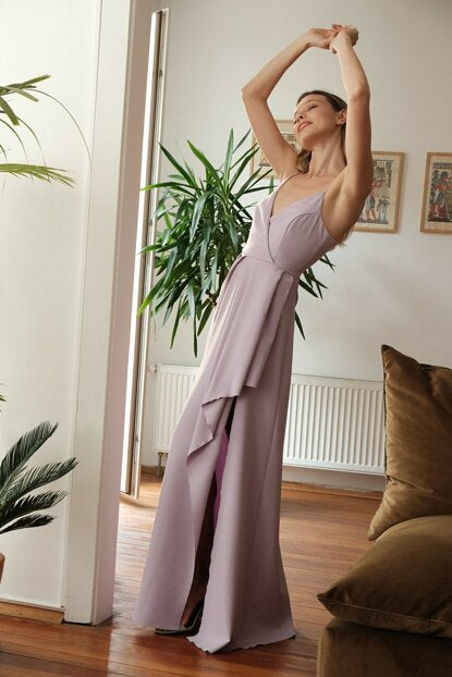 Women's Lilac Long Evening Dress - Argos Closet
