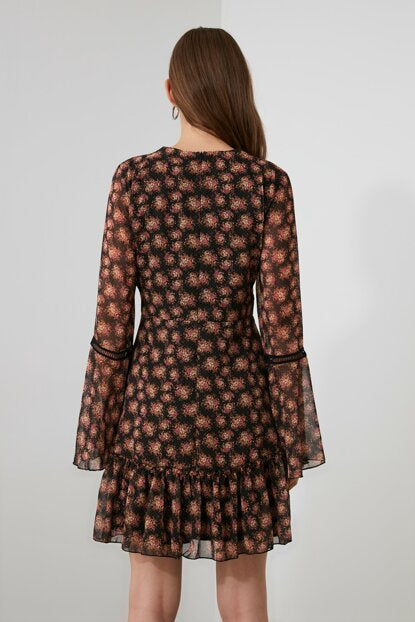 Women's Sleeve Detail Patterned Black Short Dress - Argos Closet