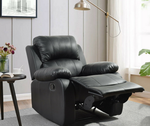 Black Leather Recliner Chair Single Couch Reclining Sofa Home Lounge Pad Seating