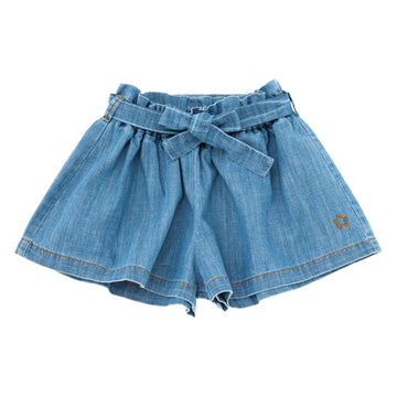 BLUE DENIM WIDE SHORTS WITH BELT