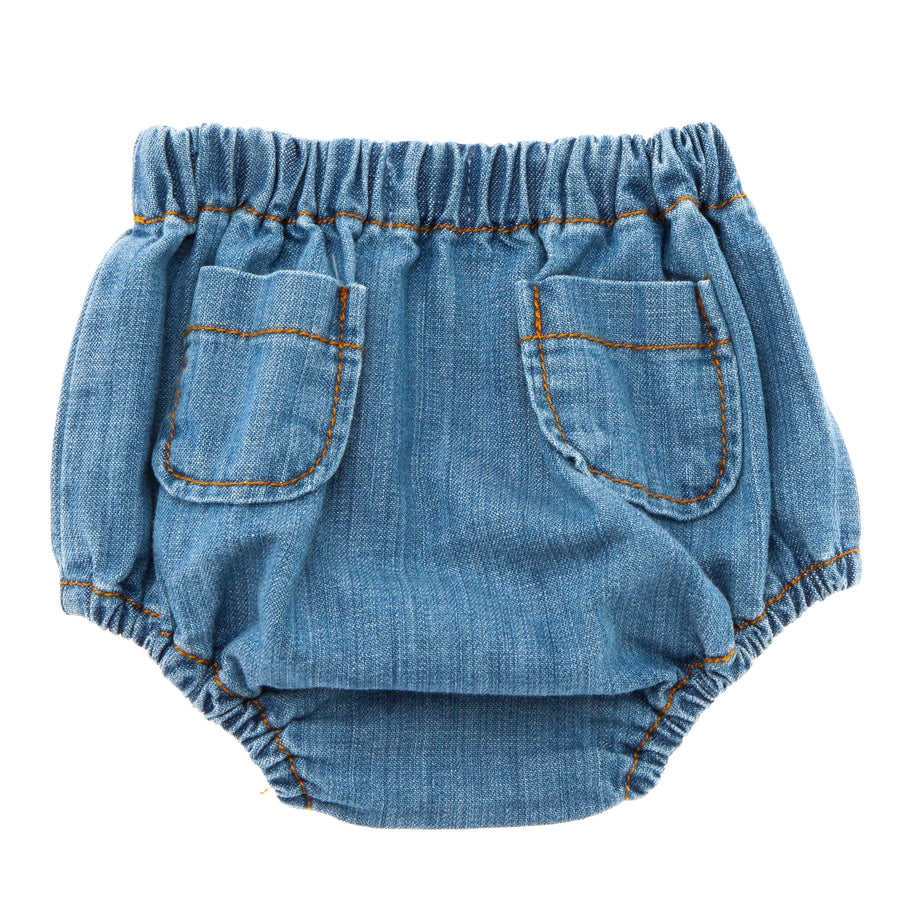 BLUE DENIM CULOTTE WITH BACK POCKETS