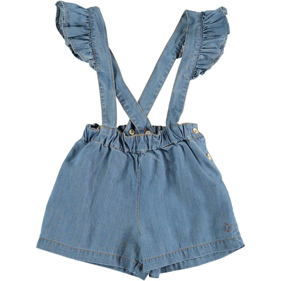 BLUE LIGHT DENIM SHORTS WITH SUSPENDERS AND BACK POCKETS