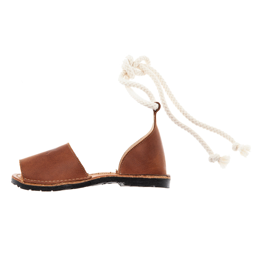 BROWN TOCOTO MENORCAN SANDALS WITH ANKLE CORD