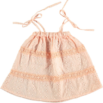SALMON SWISS EMBROIDERED BABY DRESS
