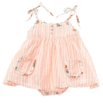 SALMON BABY STRIPED DRESS WITH FLOWER PRINT STRAPS AND INNER BODY