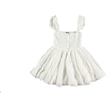 OFF WHITE VOILE DRESS WITH LACE IN STRAP