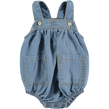 BLUE LIGHT DENIM ROMPER WITH FRONT POCKETS