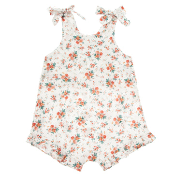 FLOWERS JUMPSUIT WITH BOWS ON SHOULDERS AND FRILLS