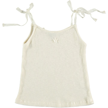 OFF WHITE BOW SHOULDERS RIBBED TANK TOP