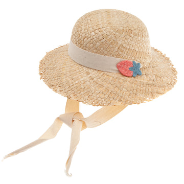 BEIGE STRAW HAT WITH STRAPS AND STRAWBERRY PATCH