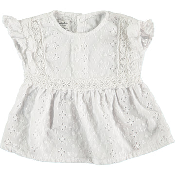 OFF WHITE SWISS EMBROIDERED BABY BLOUSE WITH LACE