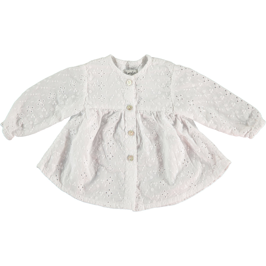 OFF WHITE FLOATY SWISS EMBROIDERED BABY BLOUSE