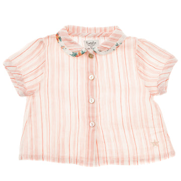 SALMON STRIPED BLOUSE WITH FLOWER PRINT ON COLLAR HEM
