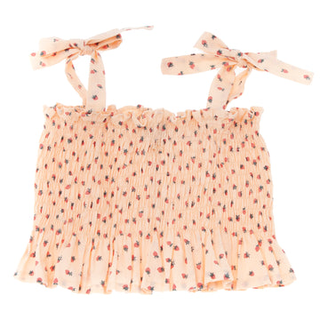 SALMON STRAWBERRY PRINT ELASTIC FROUNCED CORP TOP WITH BOW SHOULDER