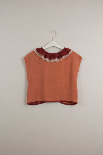 Mod. 18.3 Orange Shirt with Frilled Collar