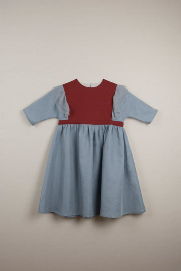 Mod. 23.2 Blue Dress with Elbow Length Sleeve