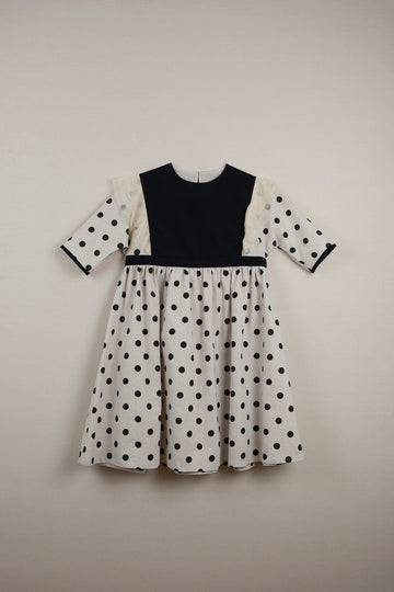 Mod. 23.3 Black Polka Dots Dress with Elbow Length Sleeve