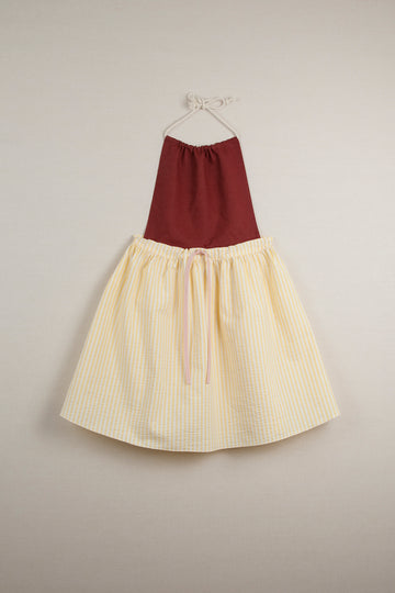 Mod. 28.1 Reversible Dress with Removable Bib and Yellow Stripes