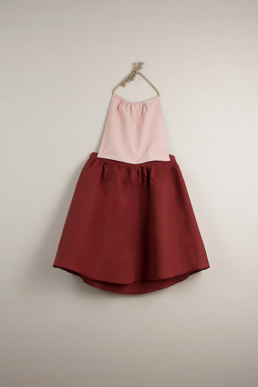 Mod. 28.3 Earth Red Reversible Dress with Removable Bib