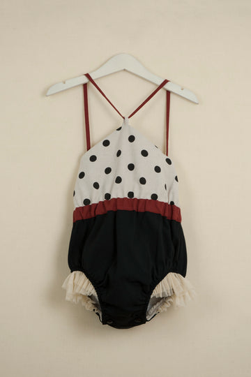 Mod. 3.1 Reversible Bathing Suit Style Romper Suit with Black Polka Dot