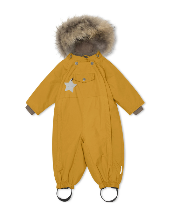 Mini a Ture Wisti snowsuit with fur - Buckthorn Brown