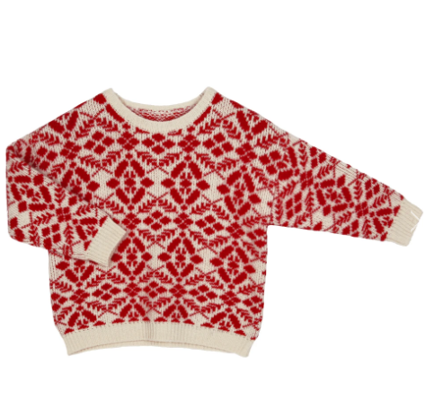 WHITE AND RED INTARSIA KNIT SWEATER