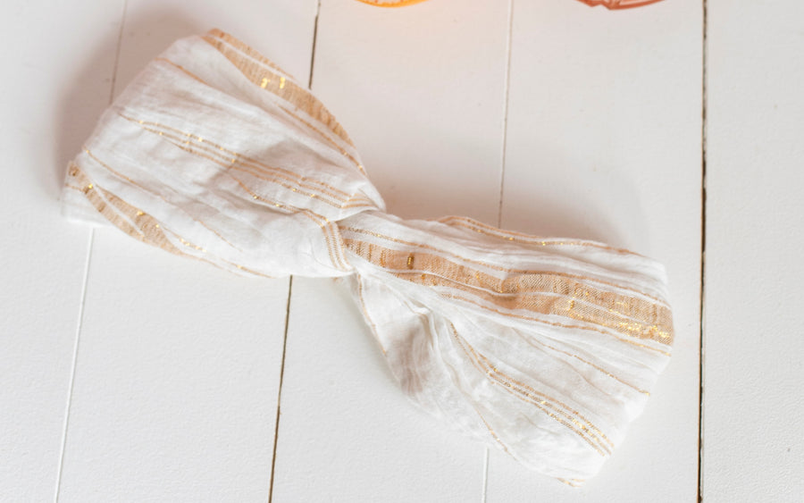 Yuriria Headband White & Gold Stripes
