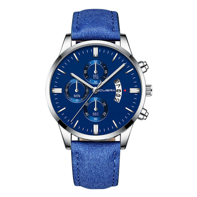 Men Fashion Sport Stainless Steel Case Leather Band Watch