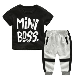 Children's round neck letter print T-shirt + Trousers