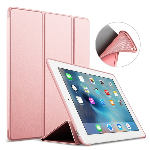 Silicone Soft Back Leather Smart Case for iPad