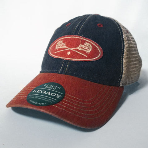 Lacrosse - Red and Navy Lacrosse Trucker Hat