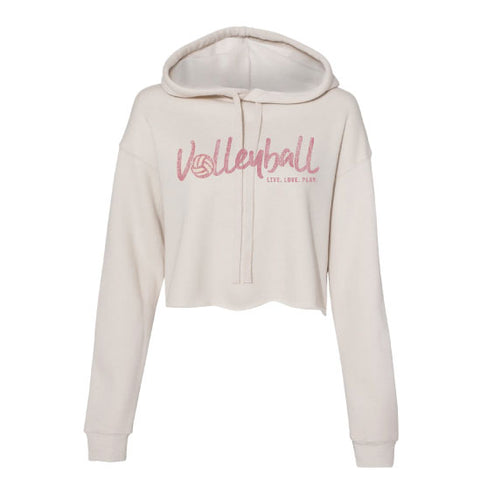 Volleyball - Heather Dust Crop Hoodie