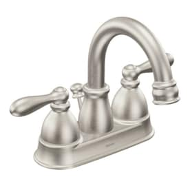 New Lower Price; Moen Caldwell Spot Resist Brushed Nickel 2-Handle 4-in Centerset WaterSense Bathroom Sink Faucet with Drain