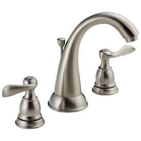 New Lower Price; Delta Windemere Brushed Nickel 2-Handle Widespread WaterSense Bathroom Sink Faucet with Drain