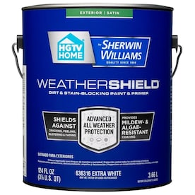 HGTV HOME by Sherwin-Williams Weathershield Extra White Satin Exterior Tintable Paint (Actual Net Contents: 124-fl oz)