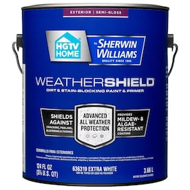 HGTV HOME by Sherwin-Williams Weathershield Extra White Semi-Gloss Exterior Paint (Actual Net Contents: 124-fl oz)