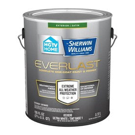 HGTV HOME by Sherwin-Williams Everlast Ultra White/Base1 Satin Exterior Tintable Paint (Actual Net Contents: 126-fl oz)