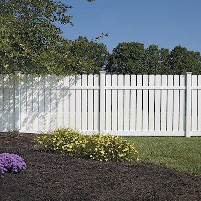 Freedom Ready-to-Assemble Waverly 6-ft H x 8-ft W White Vinyl Dog Ear Vinyl Fence Panel