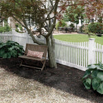 Freedom Ready-to-Assemble Keswick scallop 4-ft H x 8-ft W White Vinyl Scallop Vinyl Fence Panel