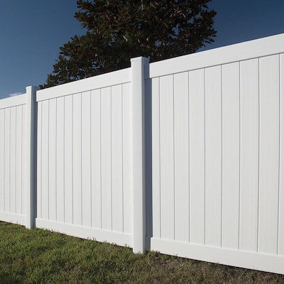 Freedom Ready-to-Assemble Hampton 6-ft H x 6-ft W White Vinyl Flat-Top Vinyl Fence Panel