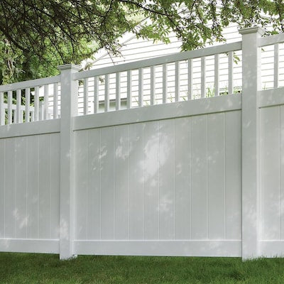 Freedom Ready-to-Assemble Bexley 6-ft H x 6-ft W White Vinyl Fence Panel