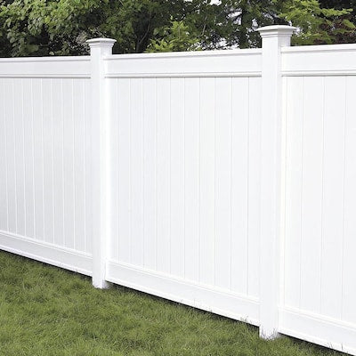 Freedom Ready-to-Assemble Everton 6-ft H x 6-ft W White Vinyl Flat-Top Vinyl Fence Panel
