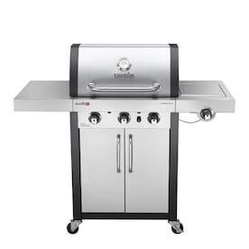 Char-Broil Commercial Stainless/Black 3 Liquid Propane and Natural Gas infrared Gas Grill with 1 Side Burner