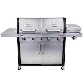 Char-Broil Commercial Stainless/Black 4 Liquid Propane and Natural Gas infrared Gas Grill with 1 Side Burner
