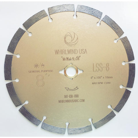 Whirlwind USA 8 in. 14-Teeth Segmented Diamond Saw Blade for Dry or Wet Cutting Concrete Stone Brick and Masonry