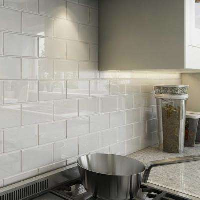 Giorbello      Bright White 3 in. x 6 in. x 8 mm Glass Subway Tile (5.5 sq. ft./case)