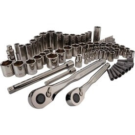 CRAFTSMAN 81-Piece Standard (SAE) and Metric Gunmetal Chrome Mechanics Tool Set