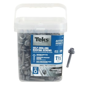 Teks #12 x 1-1/2-in Zinc-Plated Zinc-Plated Self-Drilling Roofing Screws (300-Count)