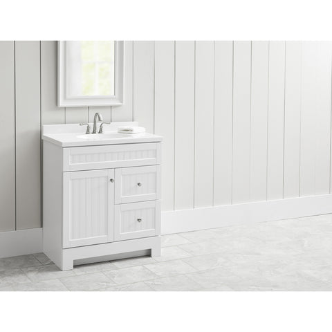 Style Selections Ellenbee 30.5-in Gray Single Sink Bathroom Vanity with White Cultured Marble Top