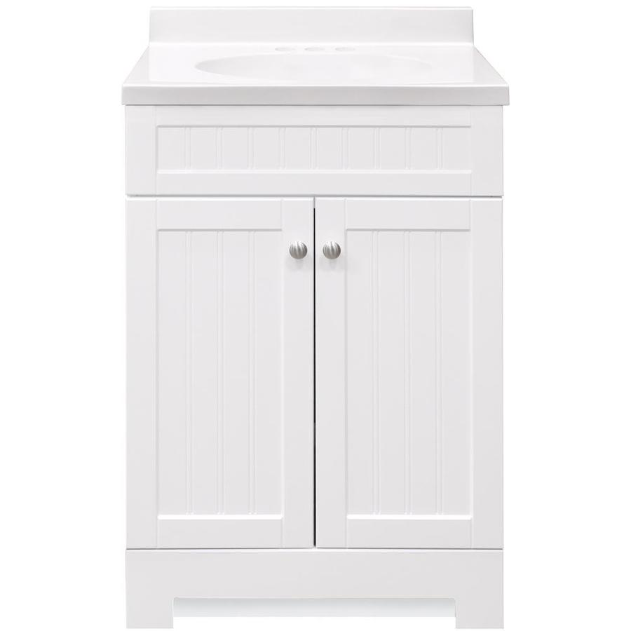 Allen Roth Floating 36 In White Single Sink Bathroom Vanity With Nat In Stock Hardwarestore Delivery